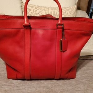 Coach Large Leather Tote (Red)